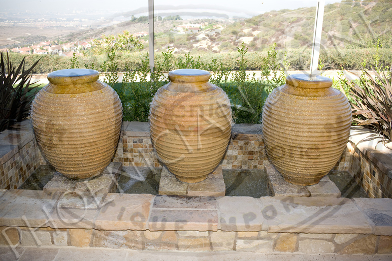 Antique Terra Cotta Roped Jars in fountain Circa 17th Century