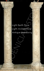 You are looking at new hand carved columns with a light earth patina and a light architectural antique destressed finish