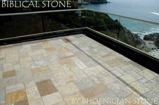 Biblical Stone on a deck of a Beach Front Home